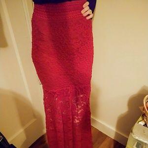Red Floor-Length Lace Mermaid Skirt